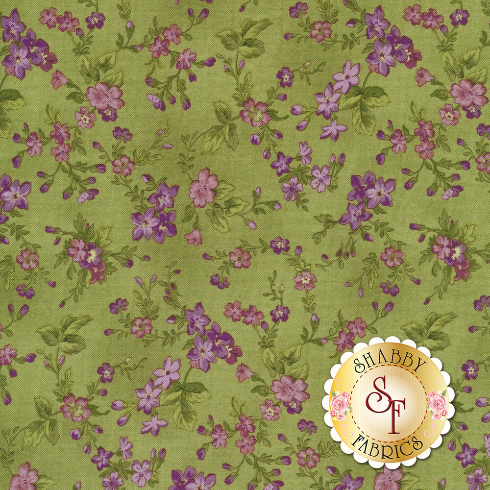 Aubergine 9153-G Green Trailing Flowers for Maywood Studios