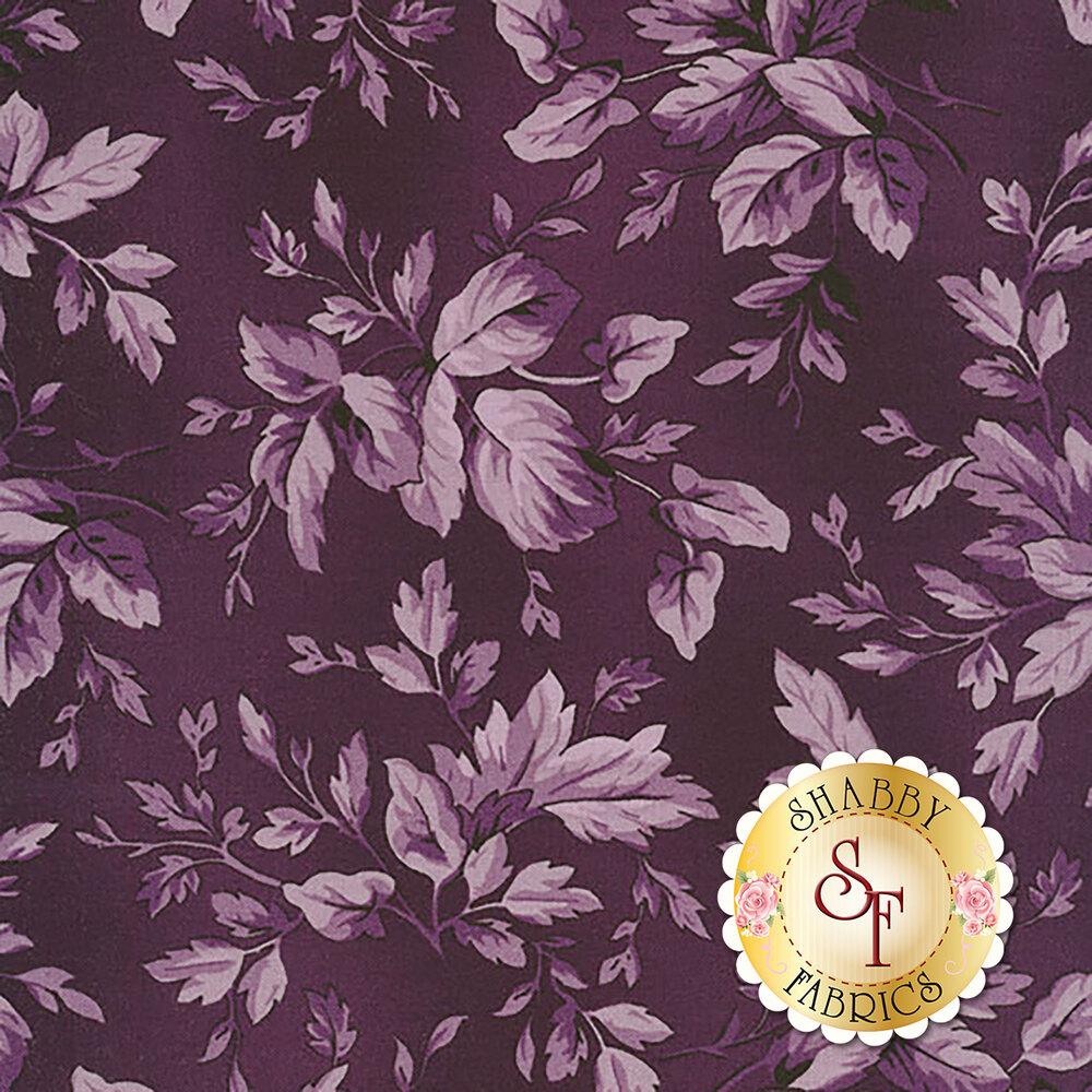 Aubergine 9154-V2 Deep Blackberry Tonal Leaves for Maywood Studio