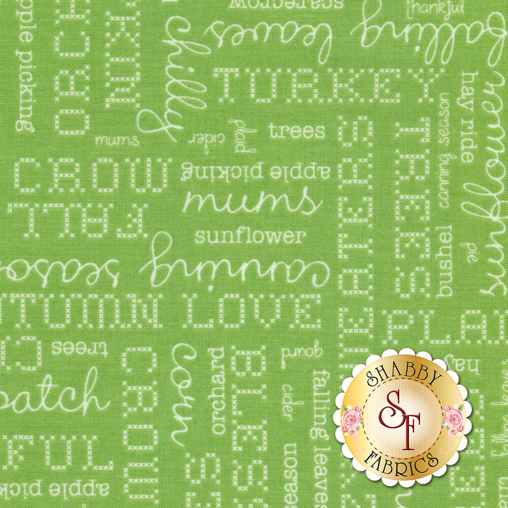 Autumn Love C7361-GREEN Text Green by Lori Holt for Riley Blake Designs