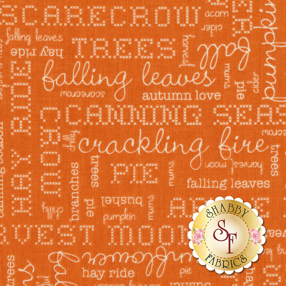 Autumn Love C7361-ORANGE Text Orange by Lori Holt for Riley Blake Designs