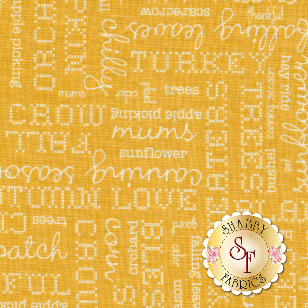 Autumn Love C7361-YELLOW Text Yellow by Lori Holt for Riley Blake Designs