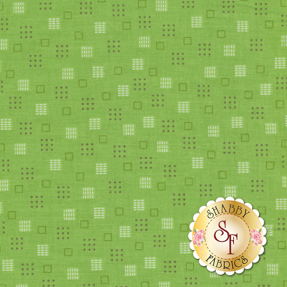 Autumn Love C7368-GREEN Squares Green by Lori Holt for Riley Blake Designs