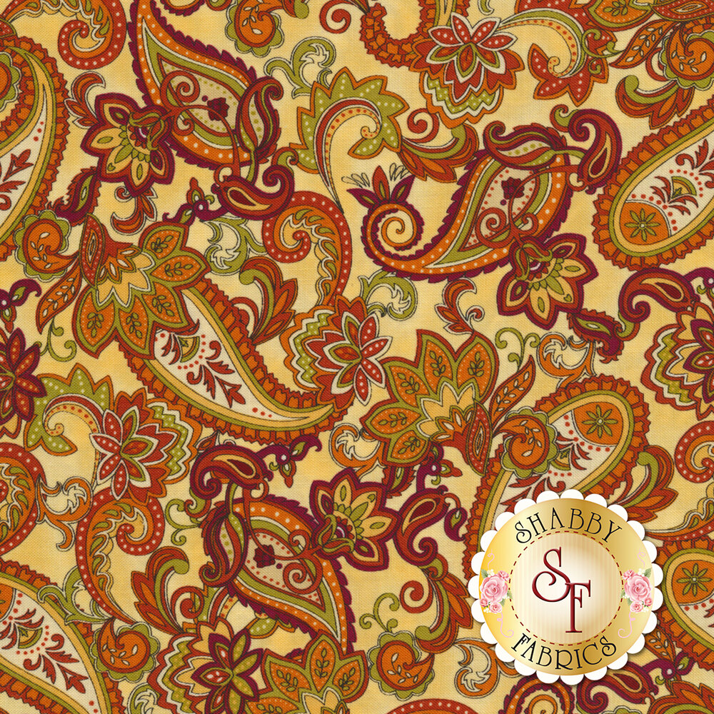 Autumn Time 2323-33 Butter by Henry Glass Fabrics available at Shabby Fabrics