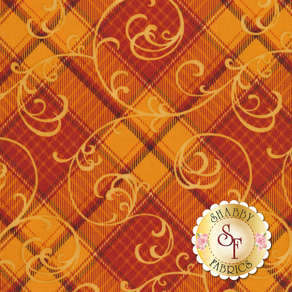 Orange and red plaid with swirls and scrolls
