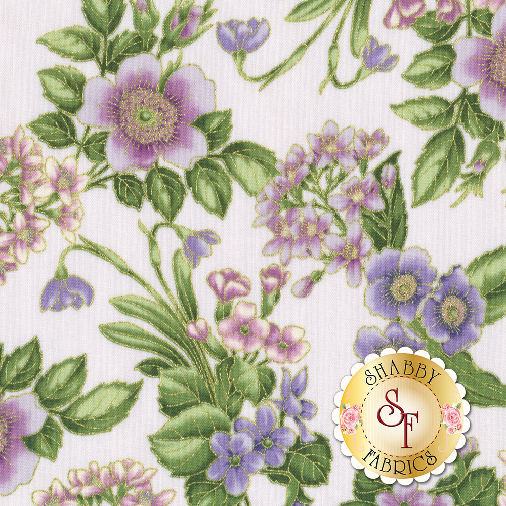 Pink and purple flowers with metallic accents on a white background