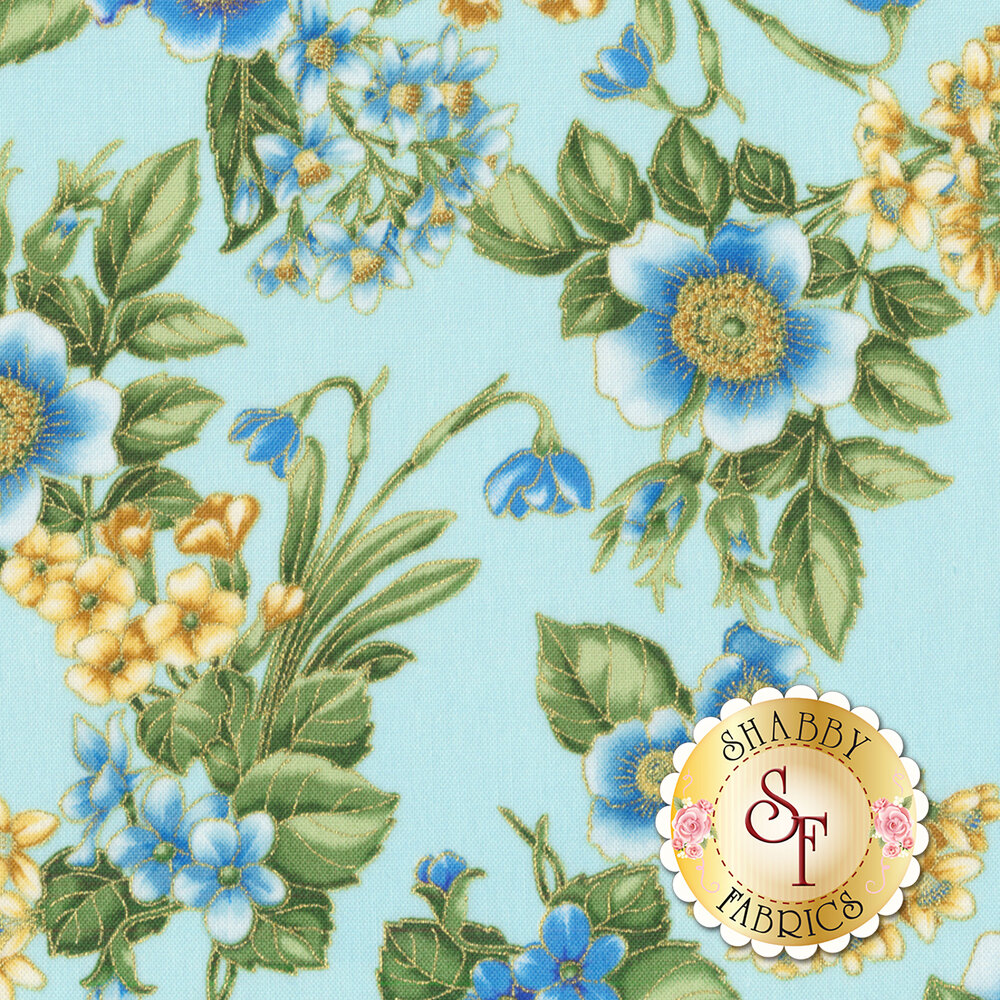 Blue flowers with a metallic border on a blue background