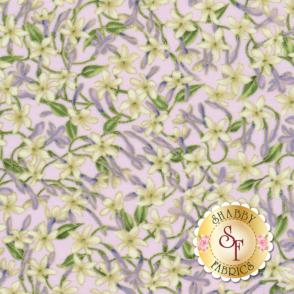 Small white flowers with metallic accents on a light purple background