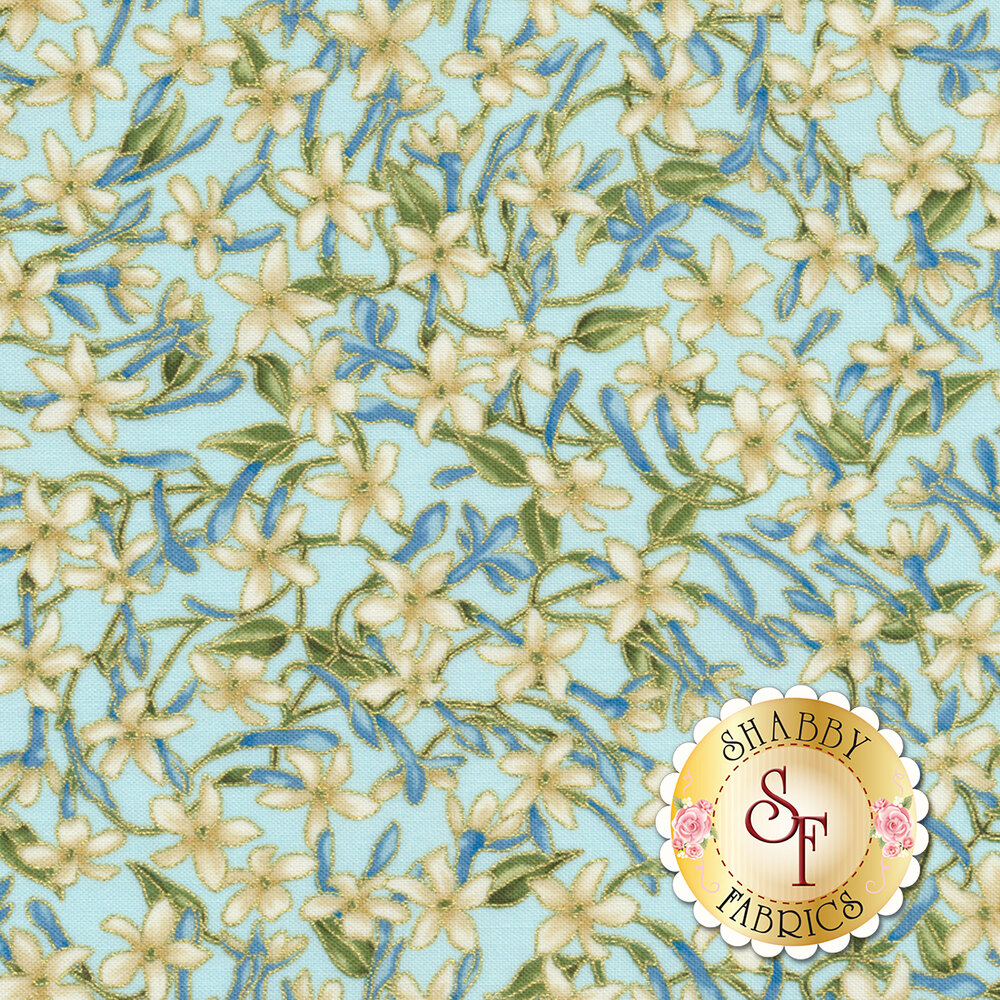 Small white flowers with metallic accents on a light blue background