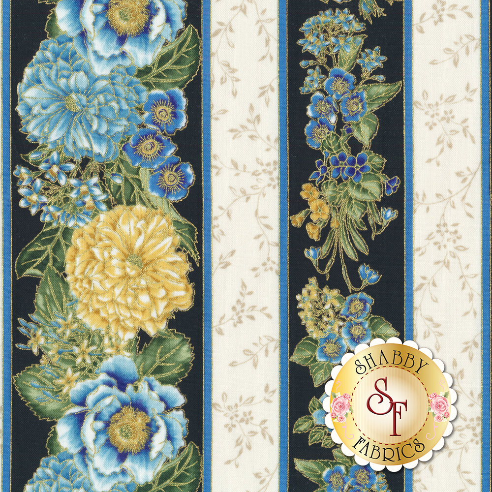 White and black striped fabrics with blue and yellow flower bunches and metallic accents