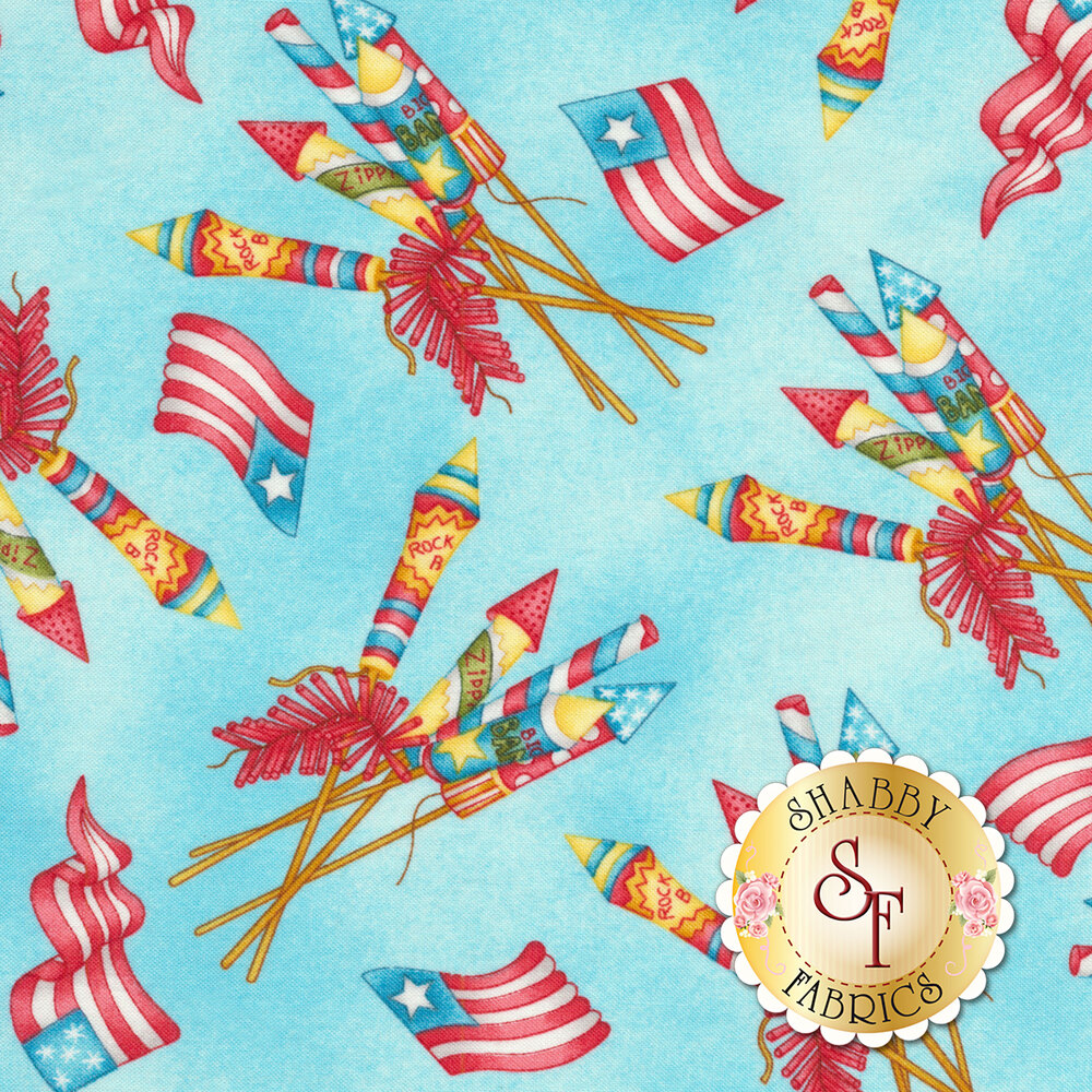 Fireworks and 4th of July rockets on a blue mottled background