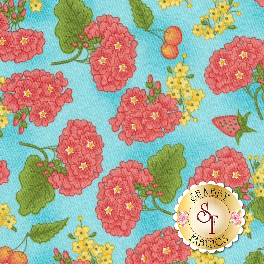 Back Porch Celebration 9384-B Blue Grandma's Garden Available at Shabby Fabrics
