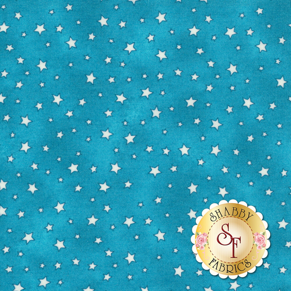Small white stars all over a blue mottled background
