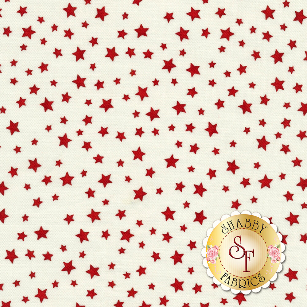 Small red stars all over a white background