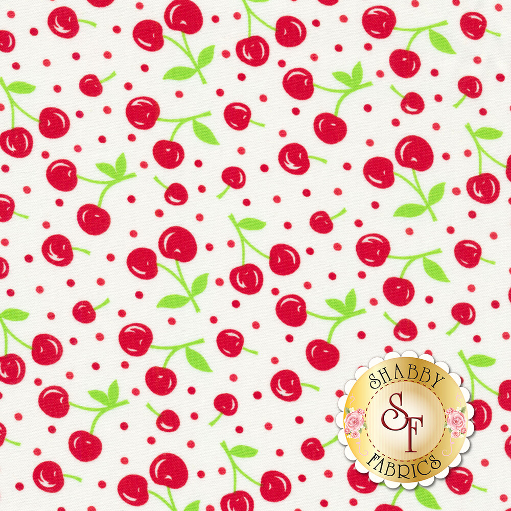 Badda Bing! 22342-16 Dots of Cherries White from Moda