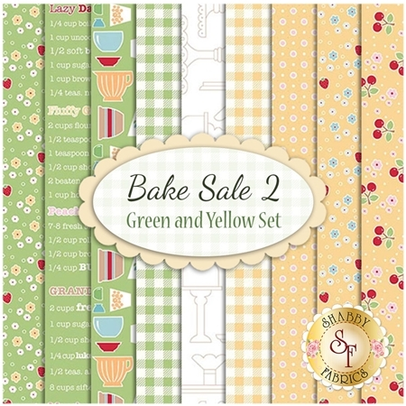 Bake Sale 2  9 FQ Set - Green and Yellow Set by Lori Holt for Riley Blake Designs