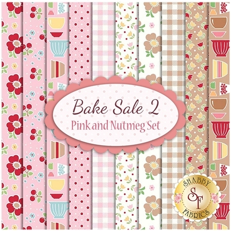 Bake Sale 2  10 FQ Set - Pink and Nutmeg Set by Lori Holt for Riley Blake Designs