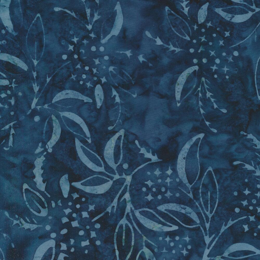 Tonal leaves on a mottled dark blue background