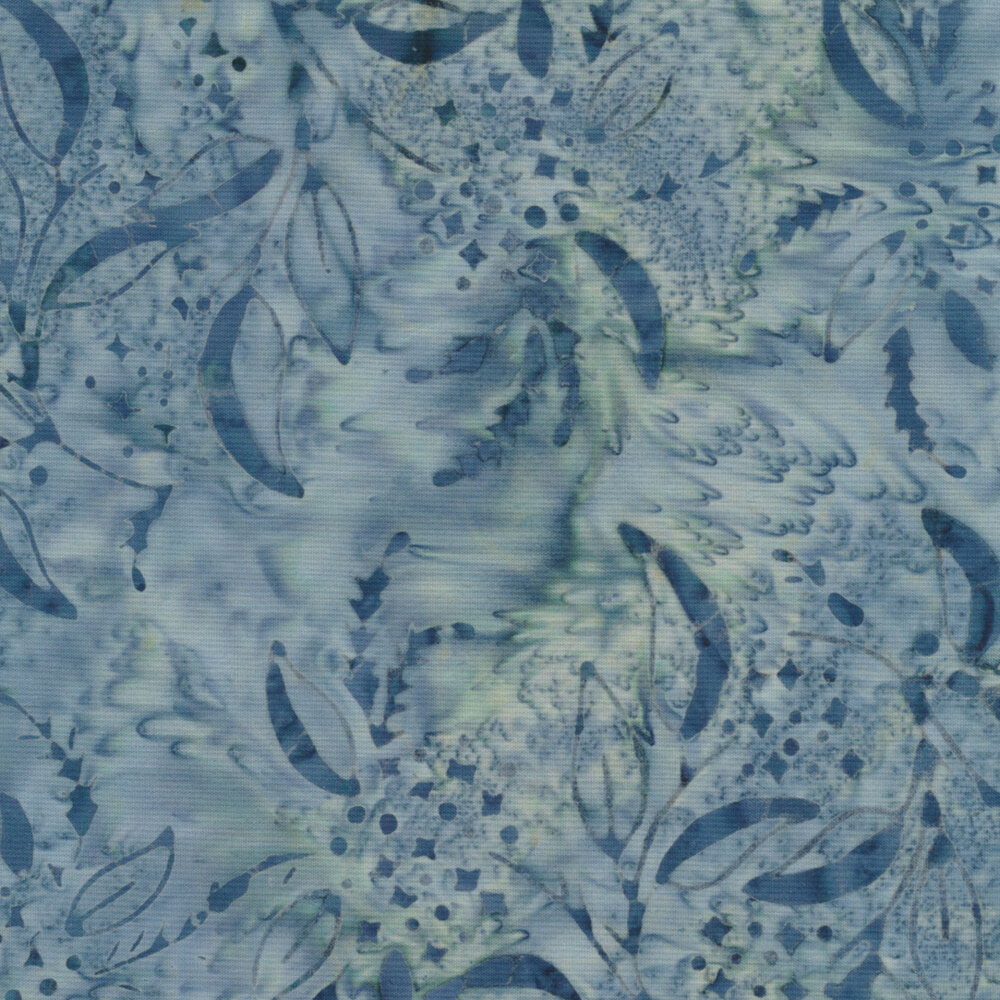 Dark blue leaves on a mottled white and blue background