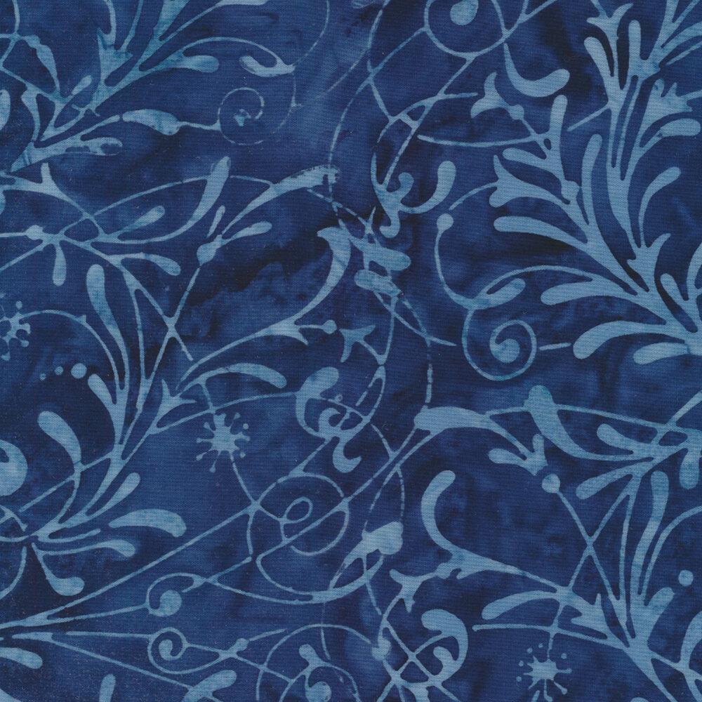 Baker's Dozens Batiks 8503-B2 Midnight Blue Scroll from Laundry Basket Quilts