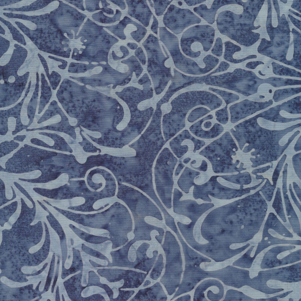 Baker's Dozens Batiks 8503-T2 Egyptian Blue Scroll from Laundry Basket Quilts