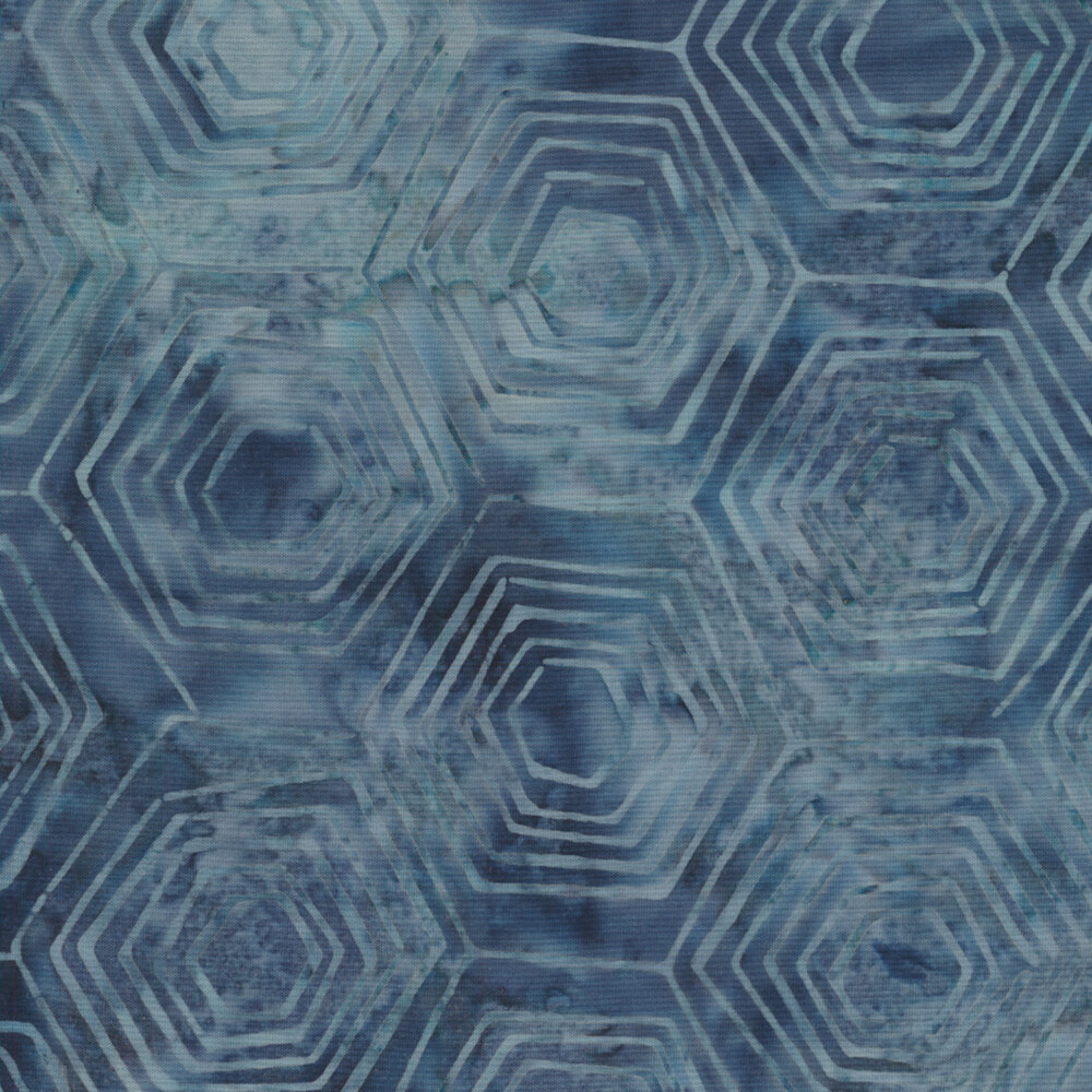 Tonal light blue hexi patterns on a blue mottled background