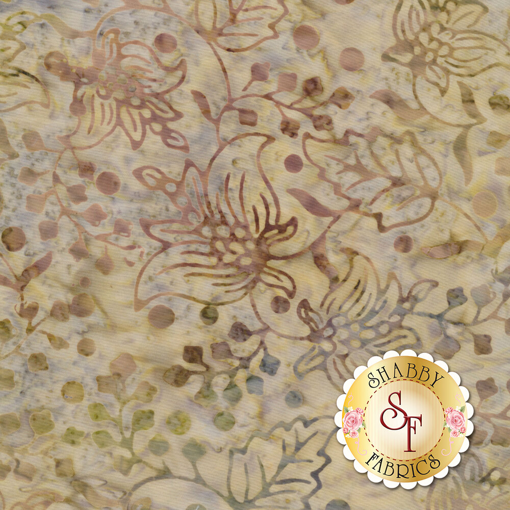 Tan floral outlines on a mottled tan background