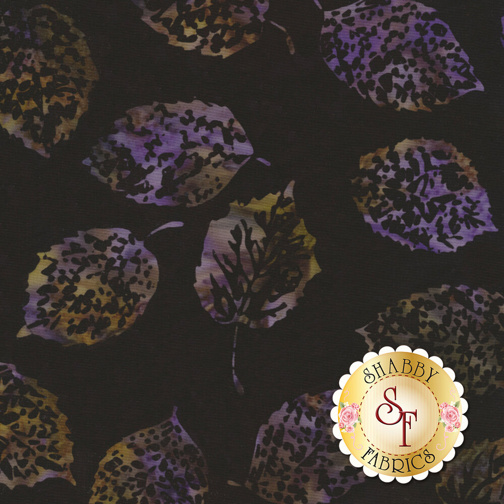 Bali Batiks Q2133-197 Leaves Black Grape for Hoffman Fabrics