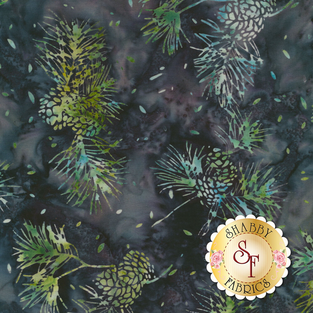Fern design on mottled dark blue batik | Shabby Fabrics