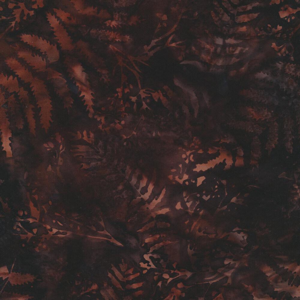 Dark maroon batik with mottled leaf print | Shabby Fabrics
