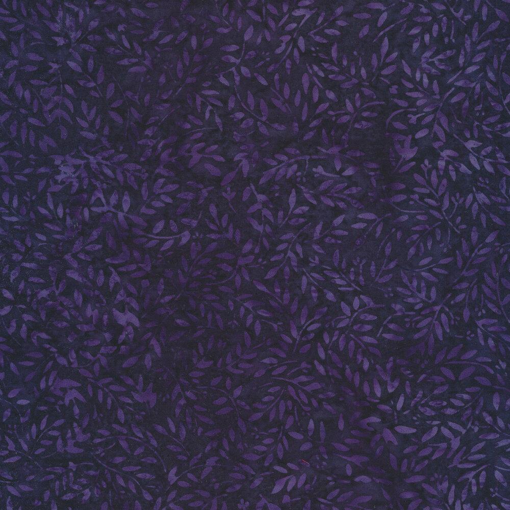 Dark purple batik with tossed leaves   Shabby Fabrics
