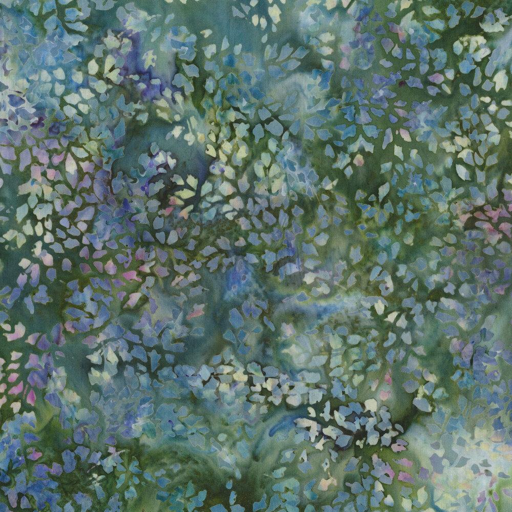 Mottled blues, purples, and green floral batiks   Shabby Fabrics