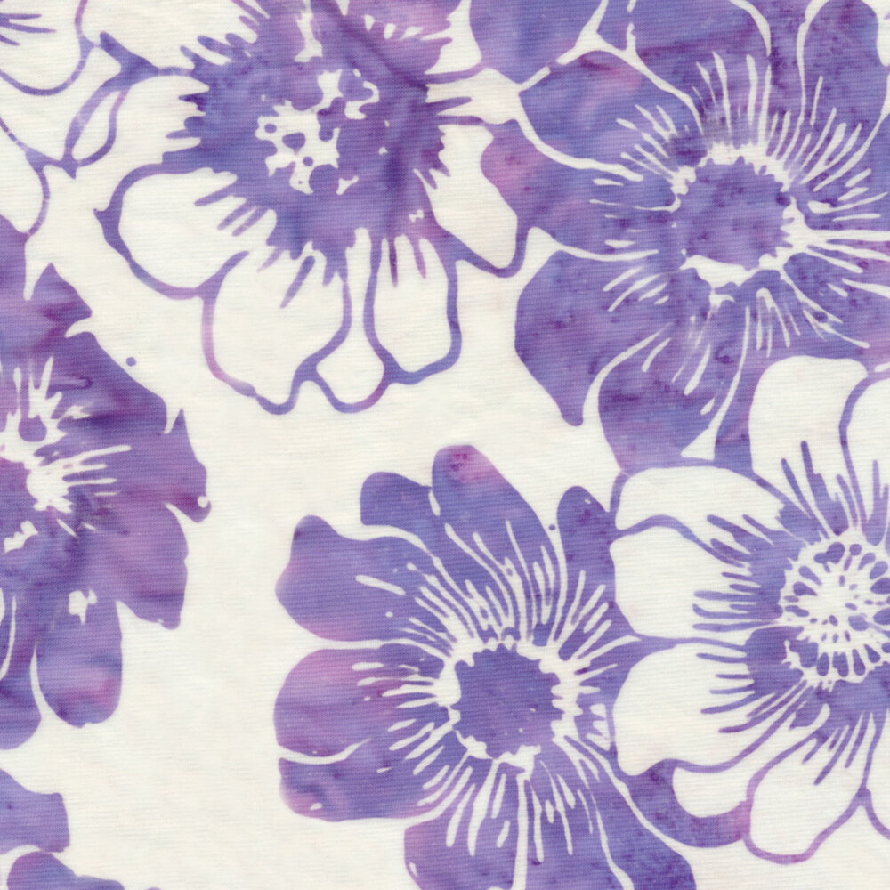 Purple mottled floral outlines on a white background