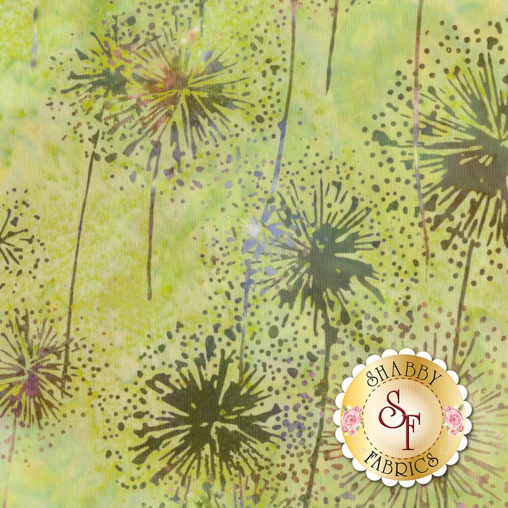 Mottled dandelion outlines on a green and brown mottled background