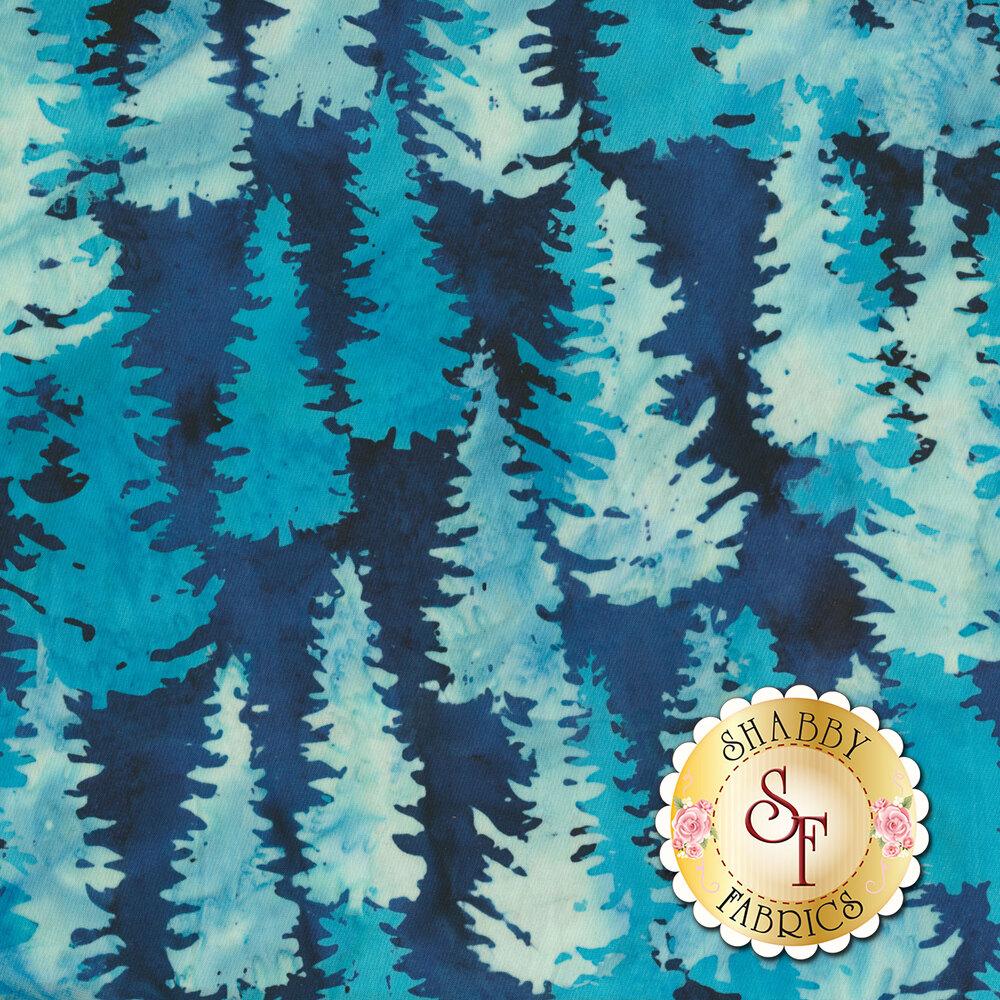 Ice blue trees all over mottled blue | Shabby Fabrics