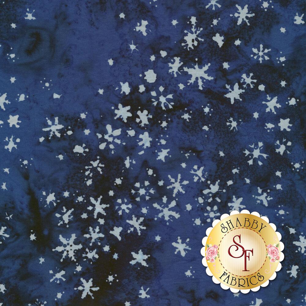 White snowflakes all over mottled blue | Shabby Fabrics