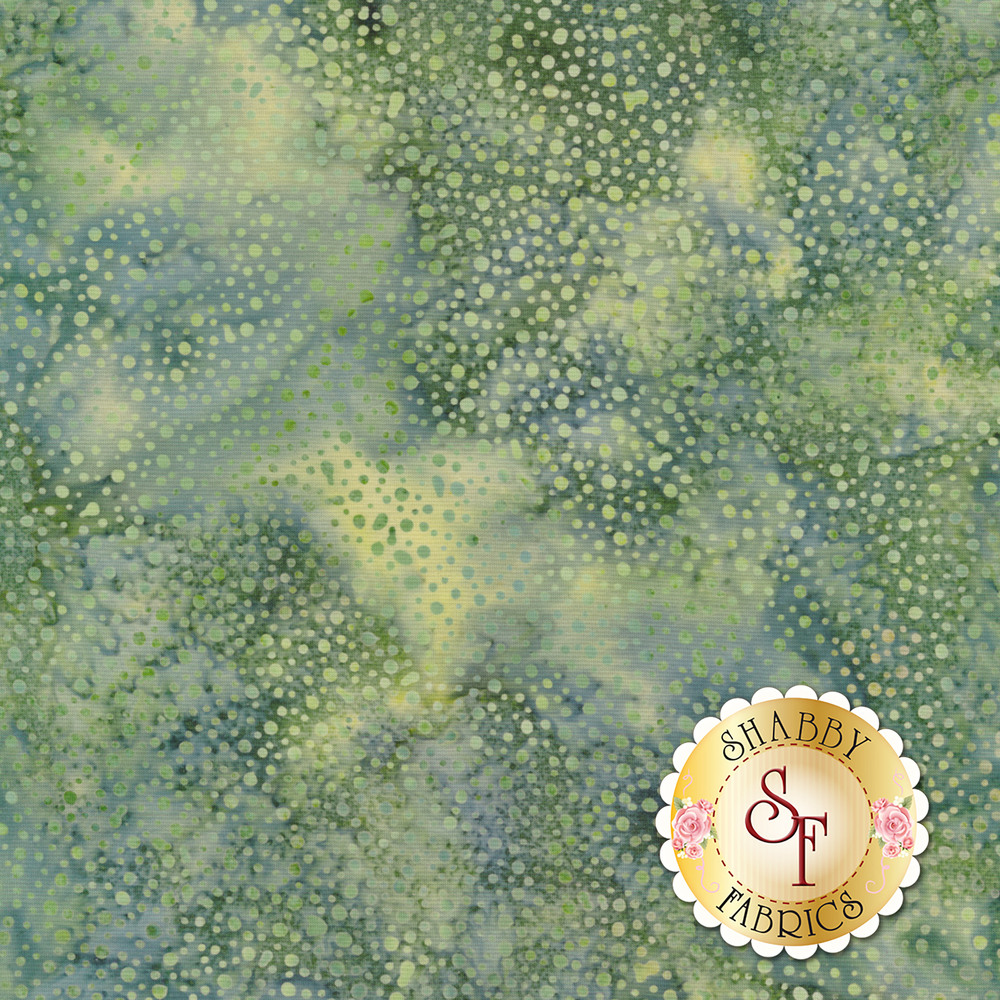 Tonal dots all over mottled blue/green batik | Shabby Fabrics