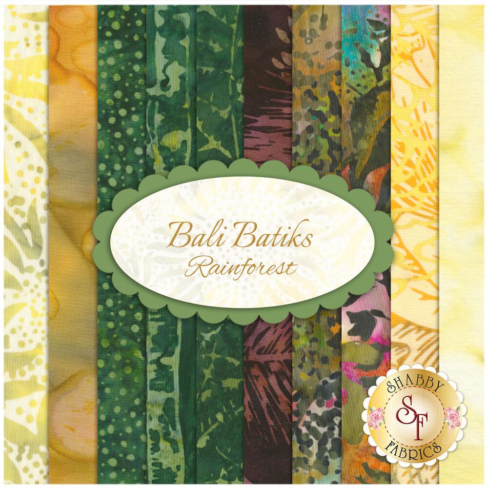 A digital collage of the 10 fabrics in the Bali Batiks - Rainforest FQ Set