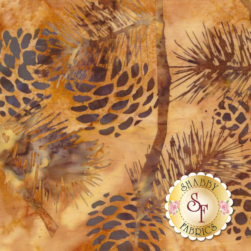 Bali Batiks Q2132-134 Pine Cones Parchment for Hoffman Fabrics California International