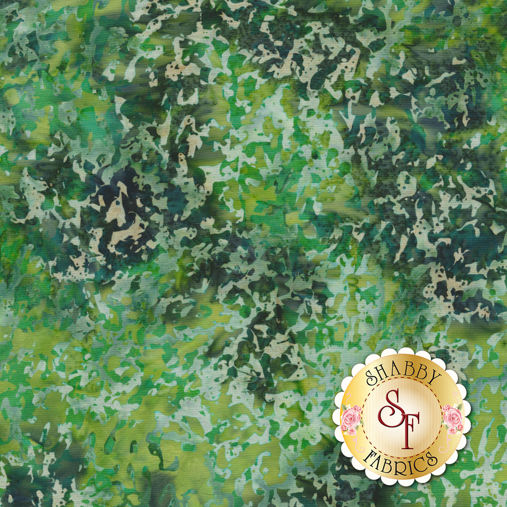 Packed green leaf design on batik | Shabby Fabrics