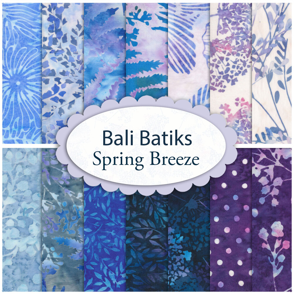 A collage of fabrics included in the Bali Batiks Spring Breeze collection   Shabby Fabrics