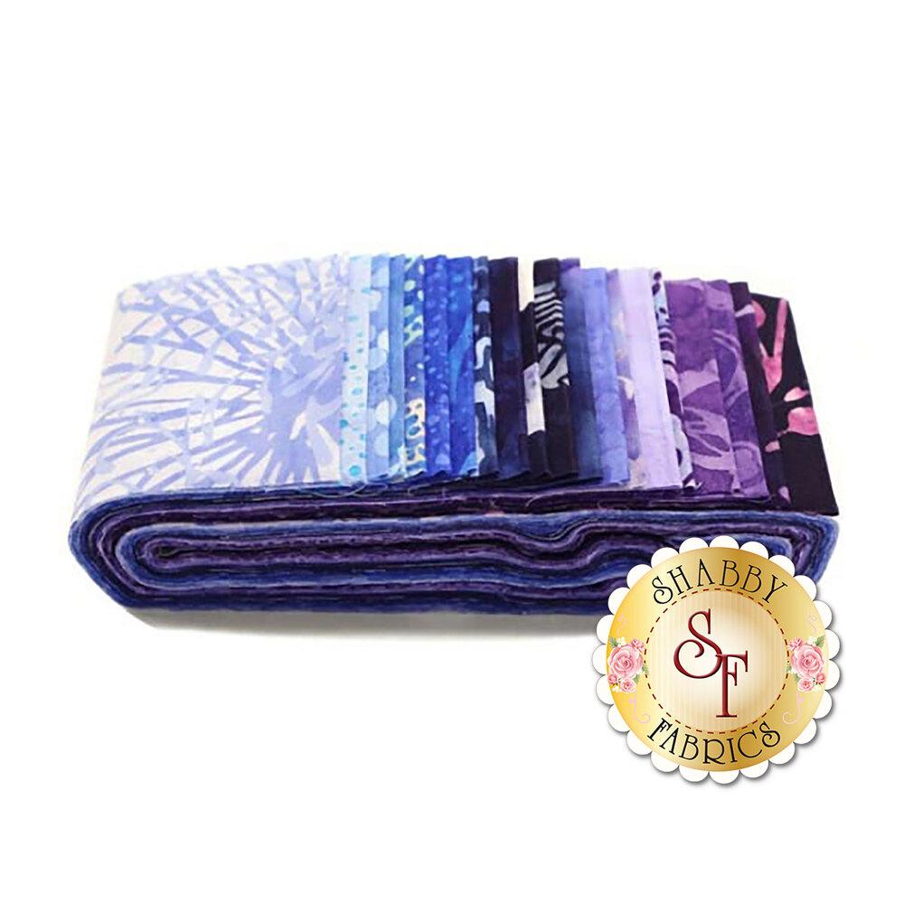 "Bali Poppies BPP-200 Blue Hawaiian 2 1/2"" Strips for Hoffman California International Fabrics"