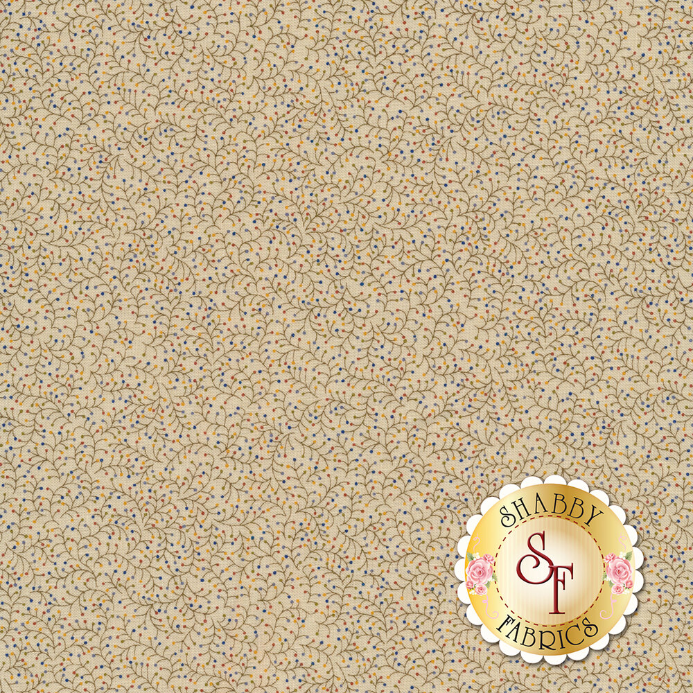 Sprigs with multicolored berries on cream | Shabby Fabrics