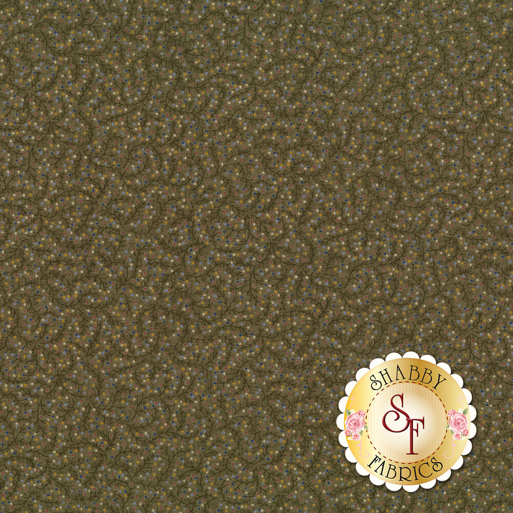 Sprigs with multicolored berries on green | Shabby Fabrics
