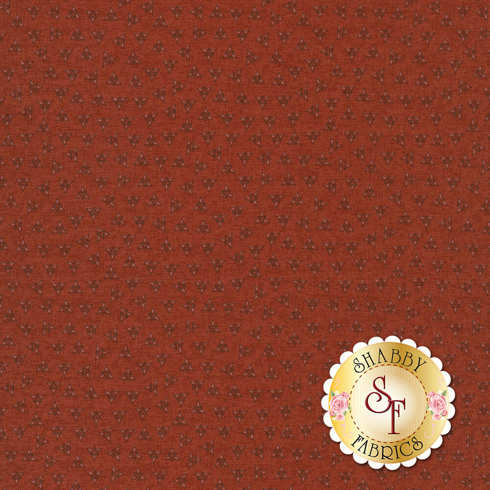 Tonal triangles on red | Shabby Fabrics