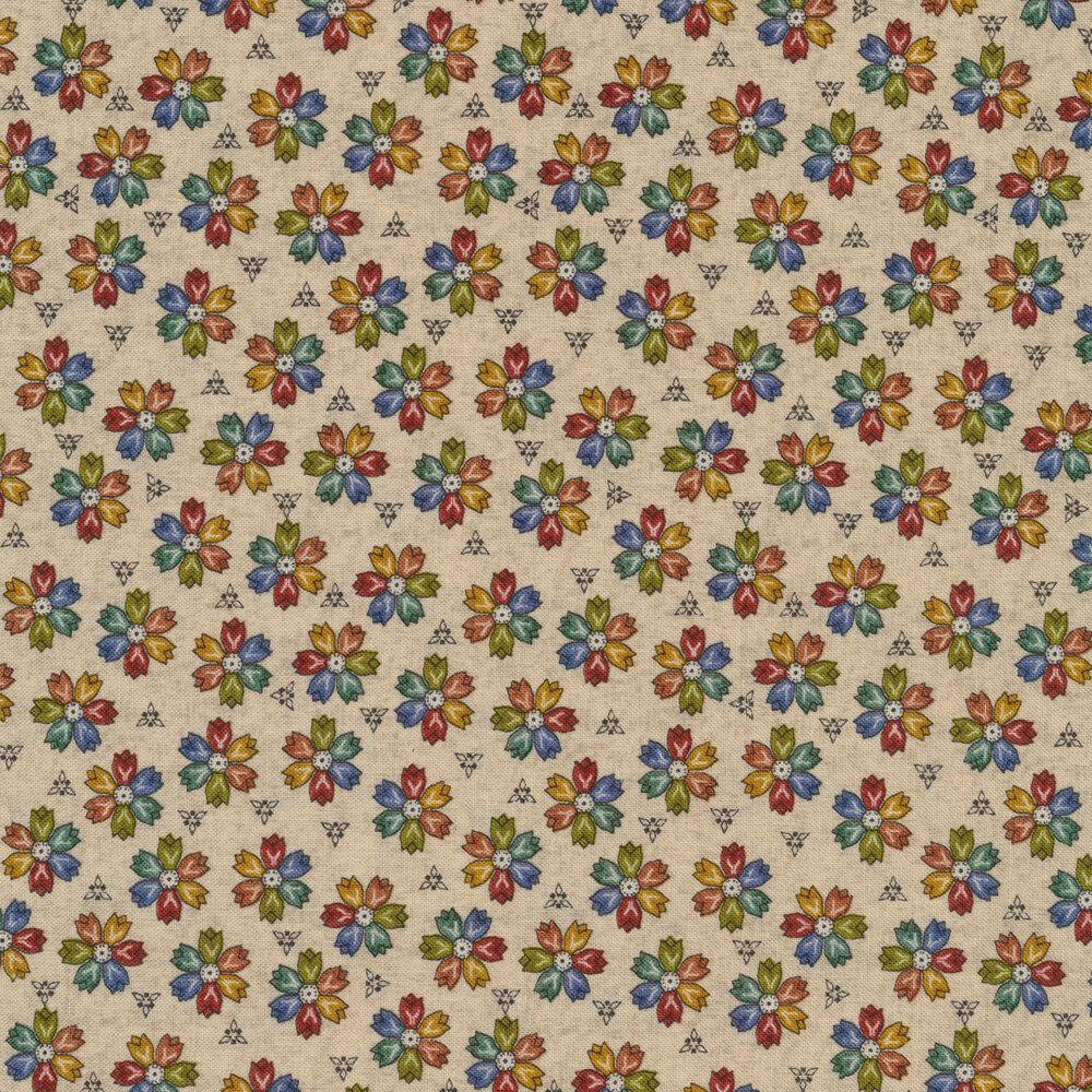 Multicolored flowers on cream | Shabby Fabrics