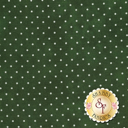 Small white polka dots on a mottled dark green background