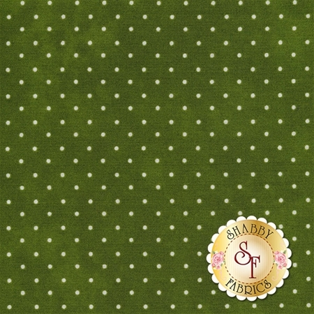 Dark green mottled fabric with small white polka dots