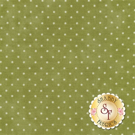 Light green mottled print with small white polka dots