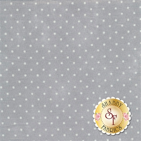 Light grey mottled fabric with small white polka dots