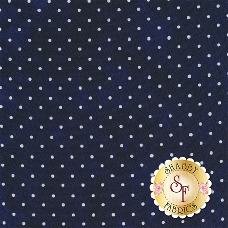 Dark navy mottled print with small white polka dots